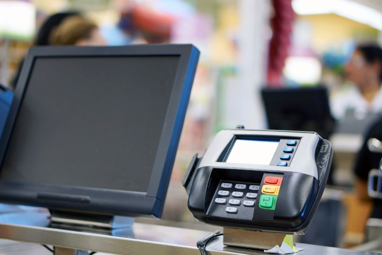 Checkout Lane Payment Reader and Monitor Screen